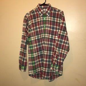 Mens Brooks Brothers button down dress shirt plaid
